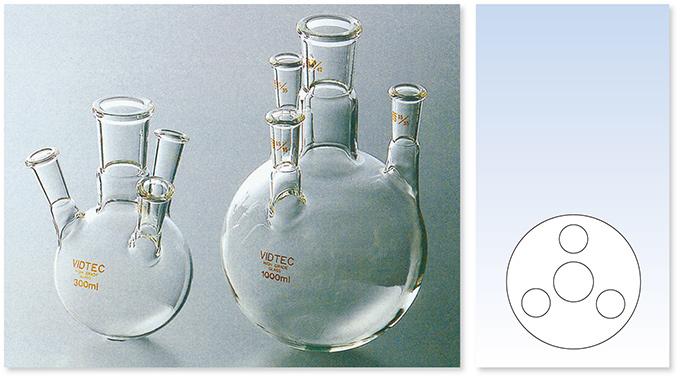 透明摺合四ツ口フラスコ(側管均等形)(500mℓまでは側管傾斜形、1000mℓ以上は側管直立形)