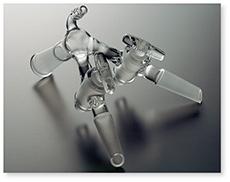 アダプター(コック付・二又・減圧用・角度約105°)