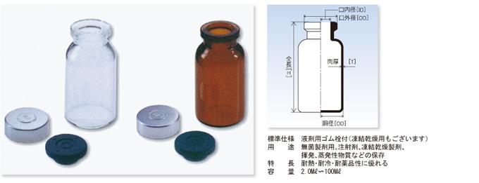 バイアル瓶(茶褐色)(ゴム栓付)