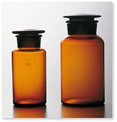 広口共栓試薬瓶(茶褐色)