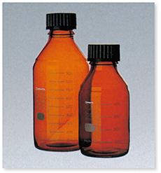 ねじ口瓶(DURAN®)(茶褐色)(黒キャップ付)(ISOねじ)