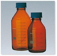 ねじ口瓶(DURAN®)(茶褐色)(青キャップ付)(ISOねじ)