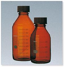 ねじ口瓶(DURAN®)(茶褐色)(赤キャップ付)(ISOねじ)