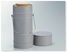 デュワー瓶(円筒形、金属ケース付)