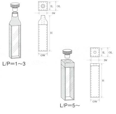 PTFE栓付標準セル(2面透明)