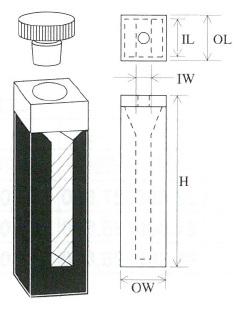 栓付上底セミマイクロブラックセル(2面透明)