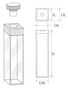 PTFE栓付蛍光セル(全面透明)