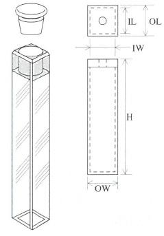 小型栓付蛍光セル(全面透明)