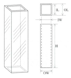 蛍光フローセル(4面透明・両端開放)